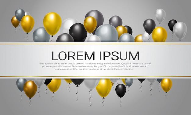 Helium steigt dekoration für partei-, feier-oder festival-ereignis-schablonen-hintergrund im ballon auf Premium Vektoren