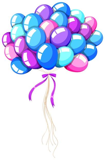 Heliumballons mit schleife gebunden Kostenlosen Vektoren