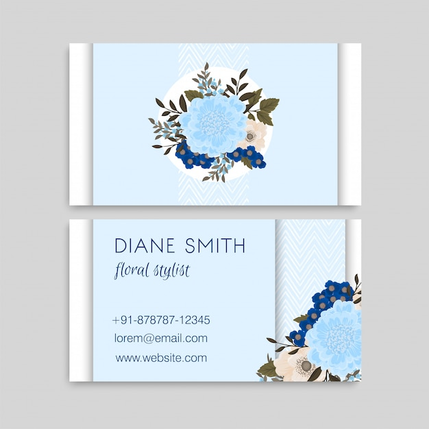 Hellblaue blumen-visitenkarten Kostenlosen Vektoren