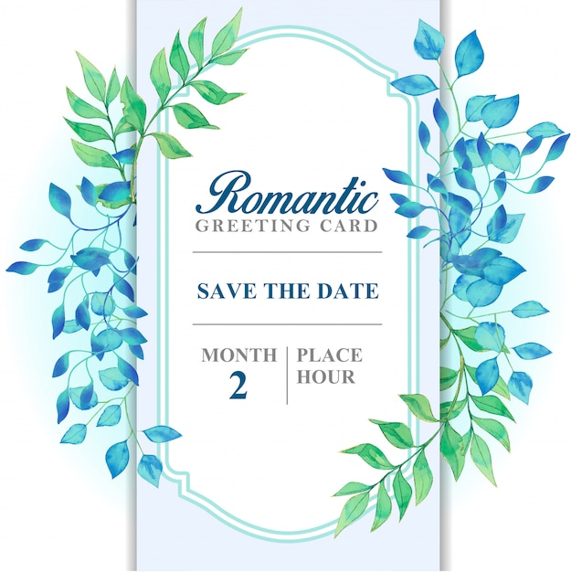 Hellblaue farb-, blaue und grünblätter der romantischen grußkarte Premium Vektoren