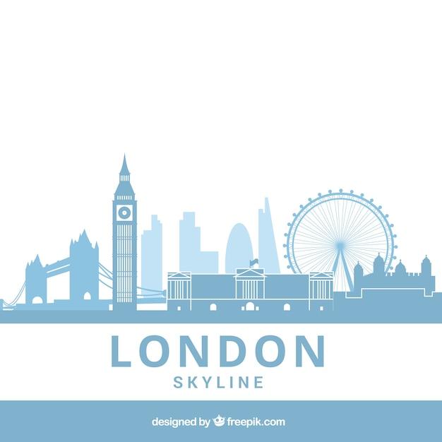 Hellblaue skyline von london Kostenlosen Vektoren