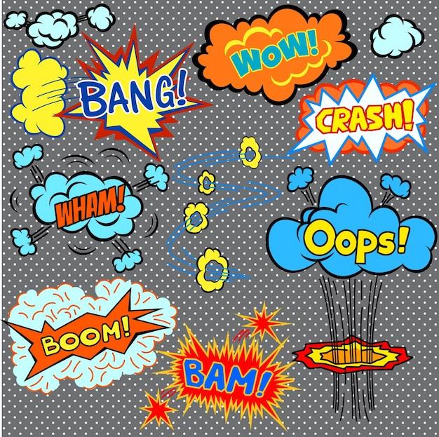 Helle comics design-elemente vektor karikatur illustration Kostenlosen Vektoren