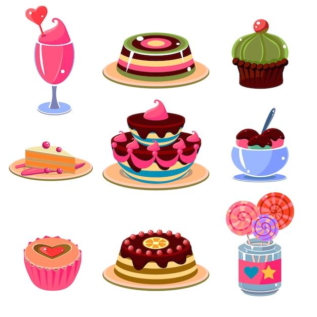 Helle dessert-ikonen stellen vektor-illustration ein Premium Vektoren