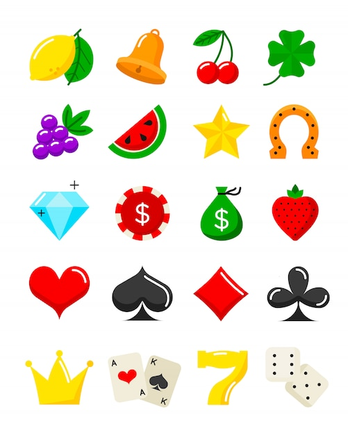 Helle flache ikonen des kasinos eingestellt Premium Vektoren