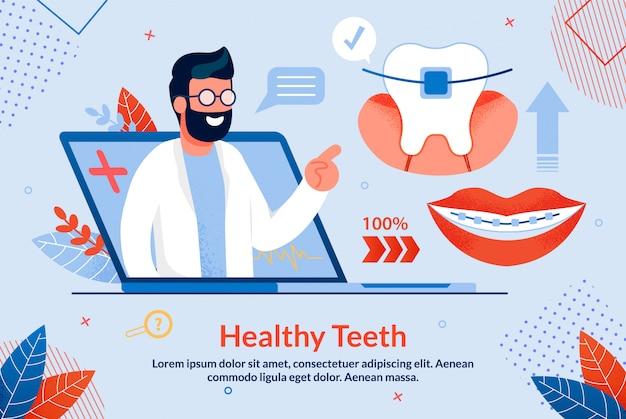 Helle gesunde zähne, die karikatur beschriften. Premium Vektoren