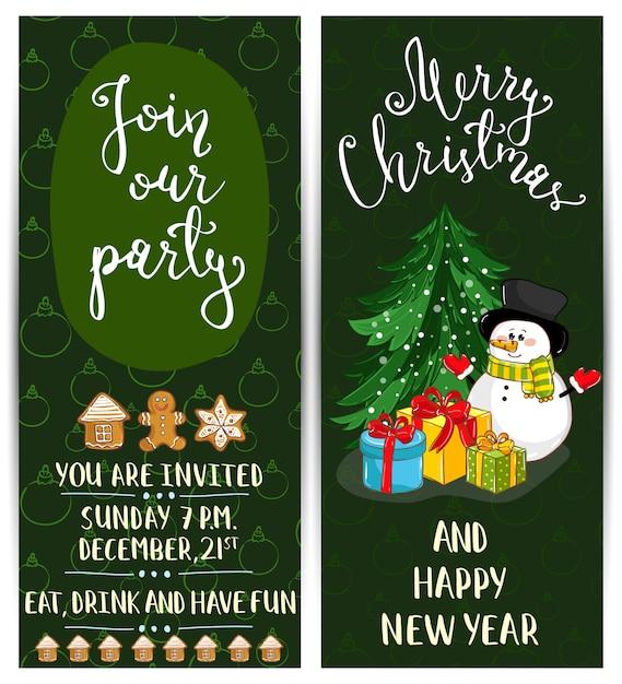 Helle karikatur-einladung auf weihnachtsspaß-party Premium Vektoren