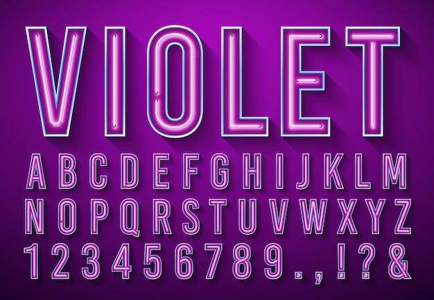 Helle neonbuchstaben. violett leuchtende schriftart, lichtkastenalphabet und neonlichtbeschriftung mit schatten 3d vektorillustrationssatz Premium Vektoren