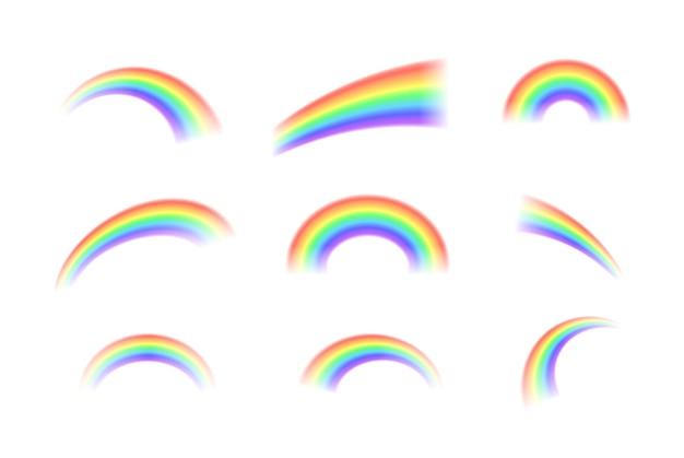 Helle realistische bogenregenbogen und runder halo-regenbogen Premium Vektoren
