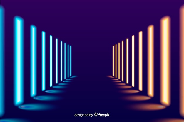Heller neonlichtstadiumshintergrund Kostenlosen Vektoren