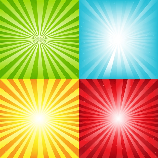 Heller sunburst-hintergrund mit strahlen und sternen, illustration Premium Vektoren