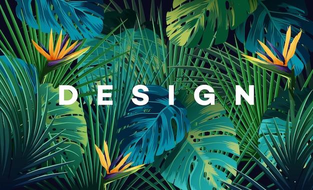Heller tropischer hintergrund mit dschungelpflanzen. exotisches muster des vektors mit palmblättern. Premium Vektoren