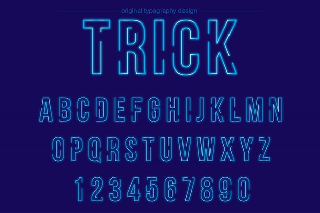 Helles blaues neontypographiedesign Premium Vektoren