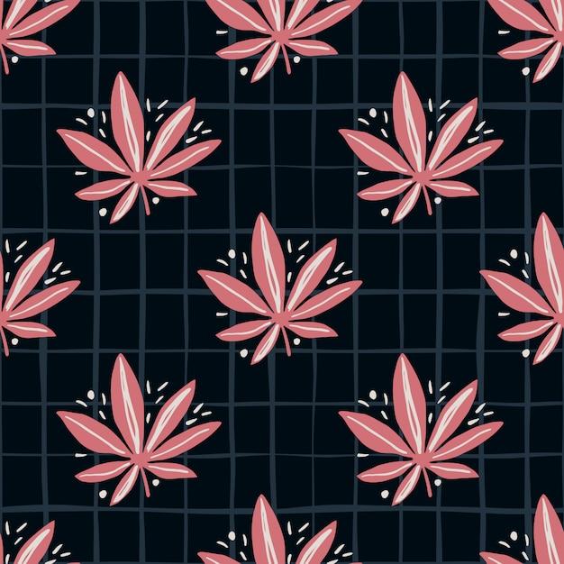 Helles nahtloses marihuana-muster. schwarzer hintergrund mit karierten und rosafarbenen cannabisblättern. Premium Vektoren