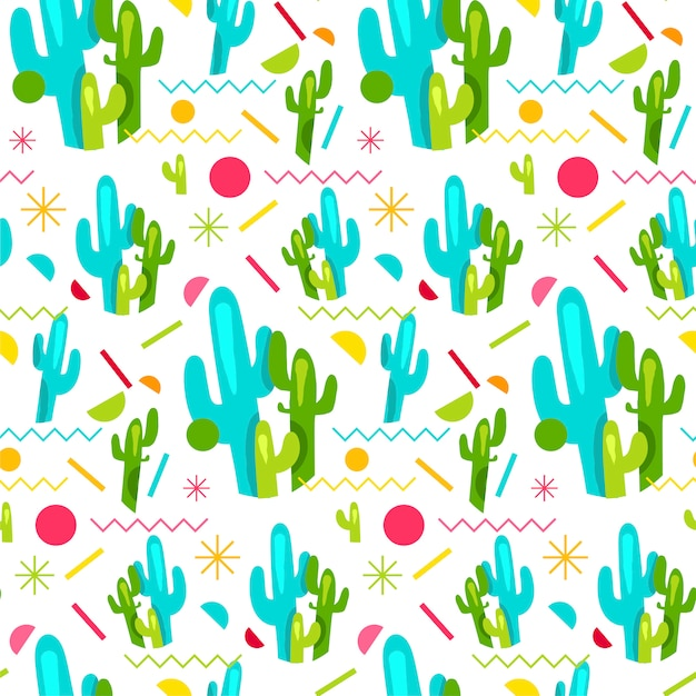 Helles nahtloses muster mode-memphis mit kaktus Premium Vektoren