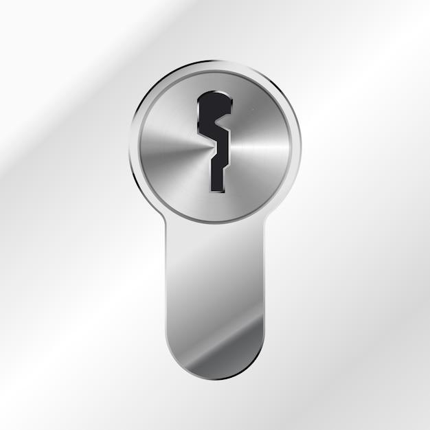 Helles silbernes glänzendes schlüsselloch auf metallischem hintergrund Premium Vektoren
