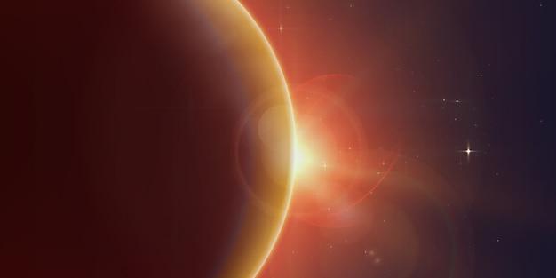 Helles sternenlicht scheint vom rand eines planeten Kostenlosen Vektoren