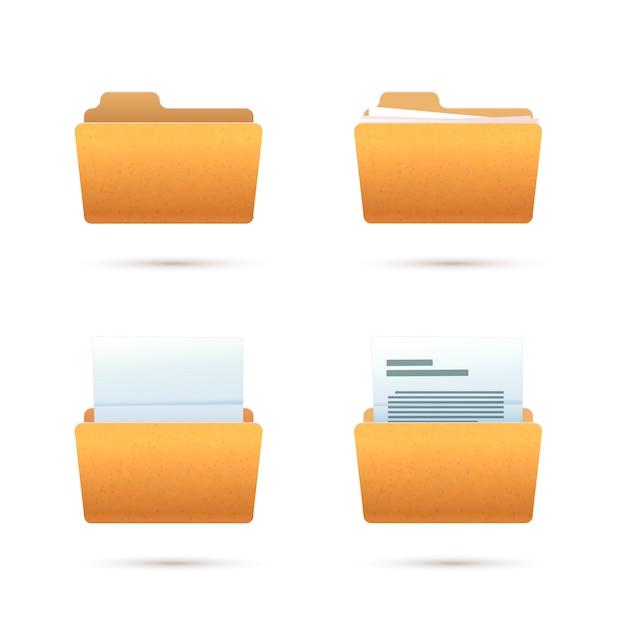 Hellgelbe realistische ordnersymbole mit dokumenten auf weiß Premium Vektoren