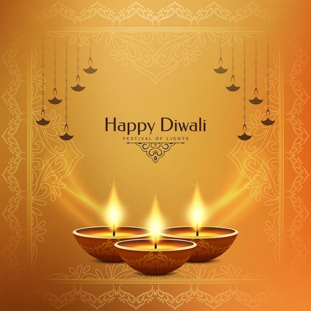 Hellgelber stilvoller glücklicher diwali festivalhintergrund Kostenlosen Vektoren