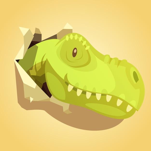 Hellgrüne dinosaurierkopfspringen aus packpapierloch heraus Kostenlosen Vektoren