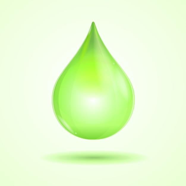 Hellgrüner tropfen lokalisiert auf weißem hintergrund Premium Vektoren