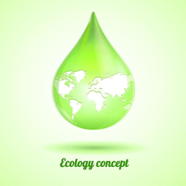 Hellgrüner tropfen mit karte lokalisiert auf weißem hintergrund. ökologiekonzept Premium Vektoren