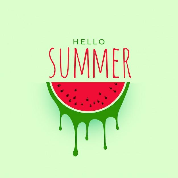 Hellow sommer wassermelone hintergrunddesign Kostenlosen Vektoren