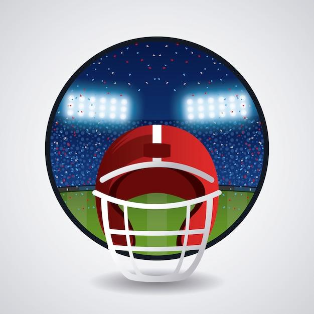 Helm des amerikanischen fußballs Premium Vektoren