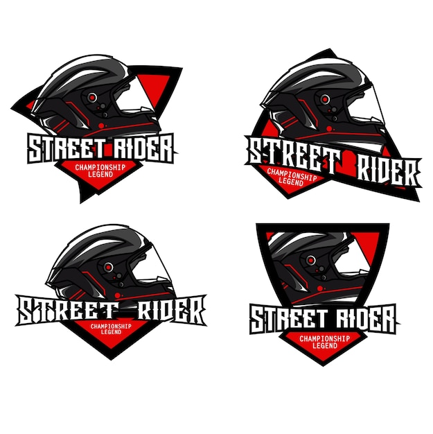 Helm-logo-set Premium Vektoren