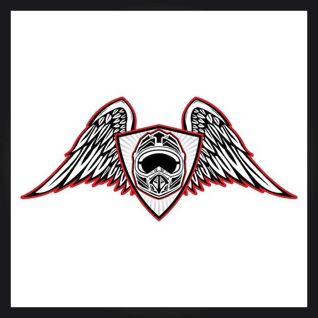 Helm und wngs für motocross-logo Premium Vektoren