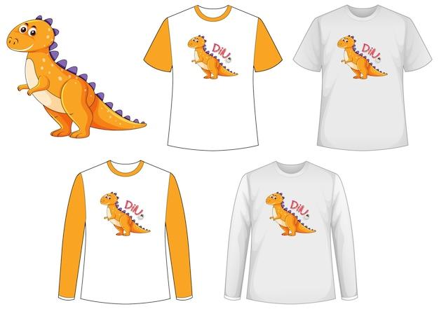 Hemd mit dinosaurier-zeichentrickfigur Kostenlosen Vektoren