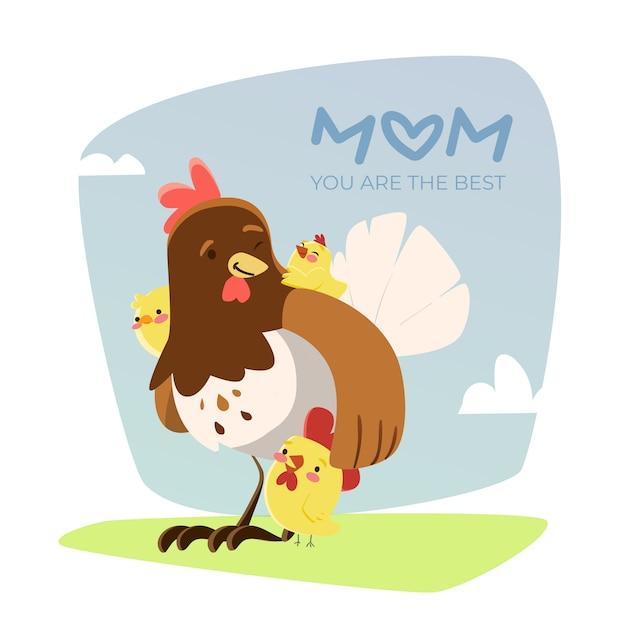 Henne und ihre hühner spielen draußen muttertag Kostenlosen Vektoren