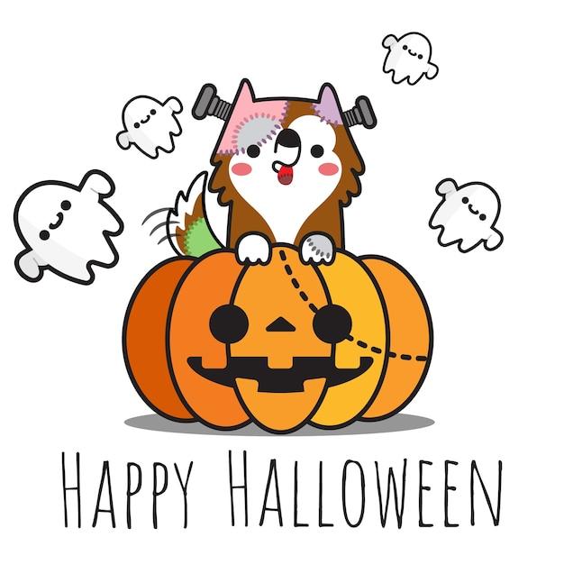 Heppy halloween-hund auf kürbis und geistern, die herum fliegen. Premium Vektoren