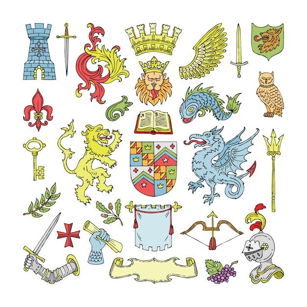 Herald heraldischer schild und heraldik-weinleseemblem des kronenlöwen- oder ritterhelmillustrationssatzes der königlichen mittelalterlichen abzeichen-königinnenkrone auf weißem hintergrund Premium Vektoren