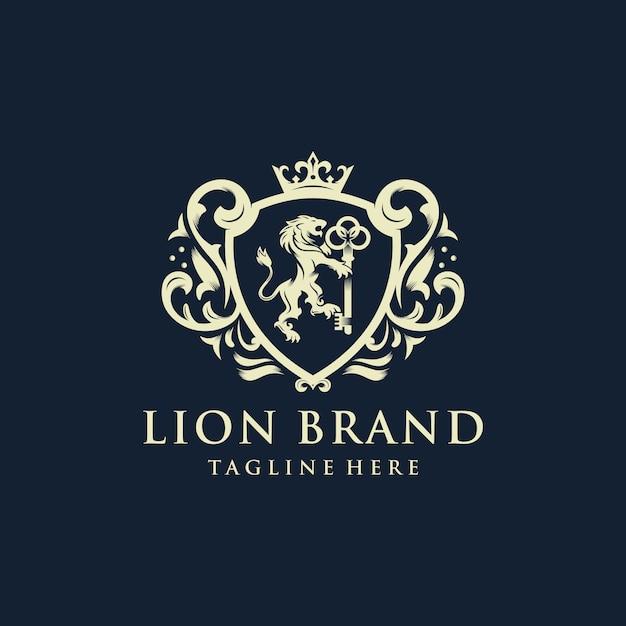 Heraldik lion brand logo design Premium Vektoren