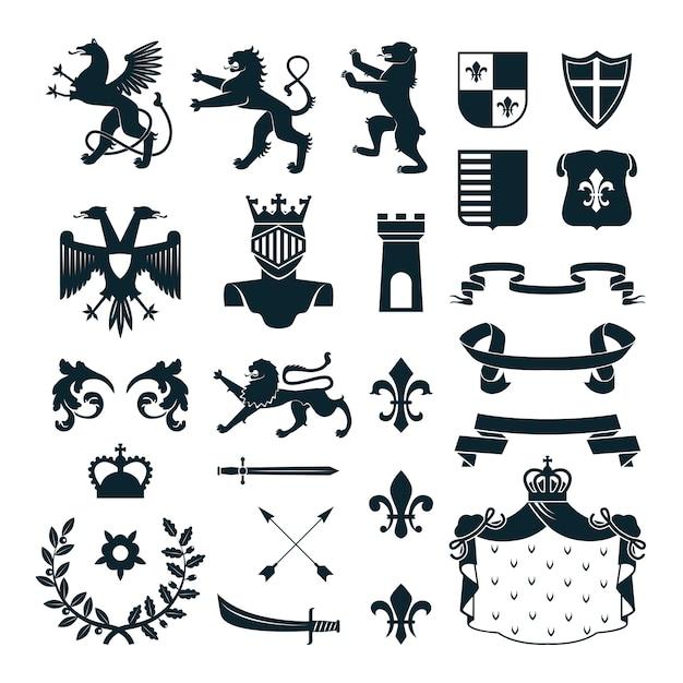 Heraldische königliche symbolembleme entwerfen und familienwappenelementsammlungschwarzzusammenfassung lokalisierte vektorillustration Premium Vektoren