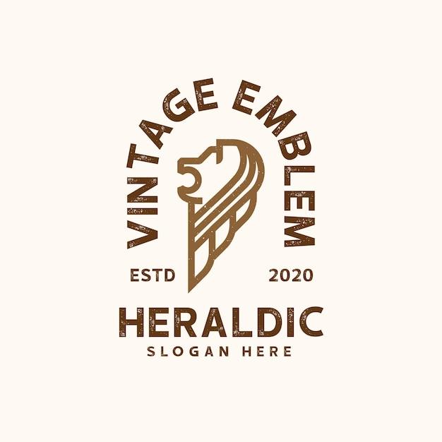 Heraldische löwenlogoschablone Premium Vektoren