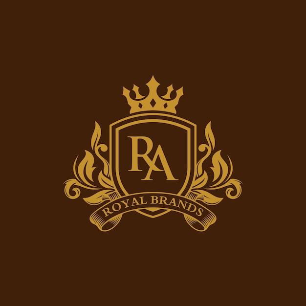 Heraldische luxusemblem-schablone Premium Vektoren