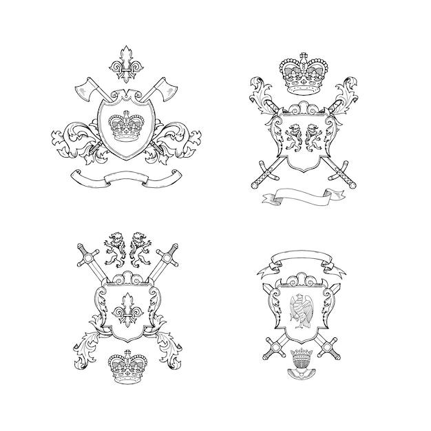 Heraldische ritterwaffen. hand gezeichnete heraldikillustration Premium Vektoren