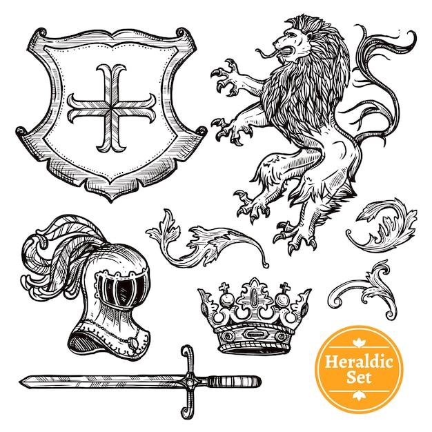 Heraldische symbole set black doodle sketch Kostenlosen Vektoren