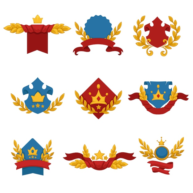 Heraldisches banner mit kronensternen und bändern Premium Vektoren