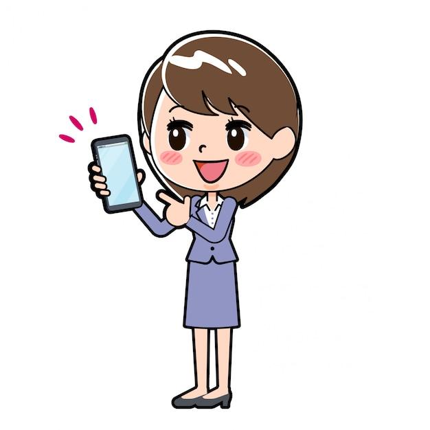Heraus linie geschäftsfrau-smartphonepunkt Premium Vektoren