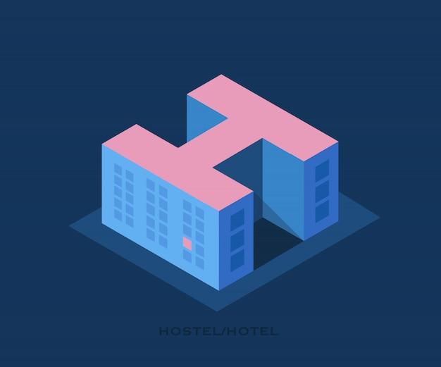 Herberge. bau eines hostels oder hotels in form eines briefes h. Premium Vektoren