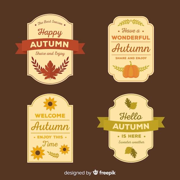 Herbst abzeichen sammlung flachen stil Kostenlosen Vektoren