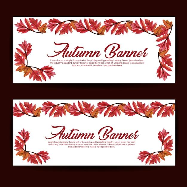 Herbst Banner Mit Aquarell Orange, Gelb Und Grün Blätter