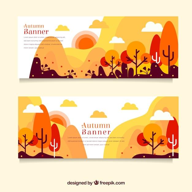 Herbst banner mit bunten bäumen Kostenlosen Vektoren