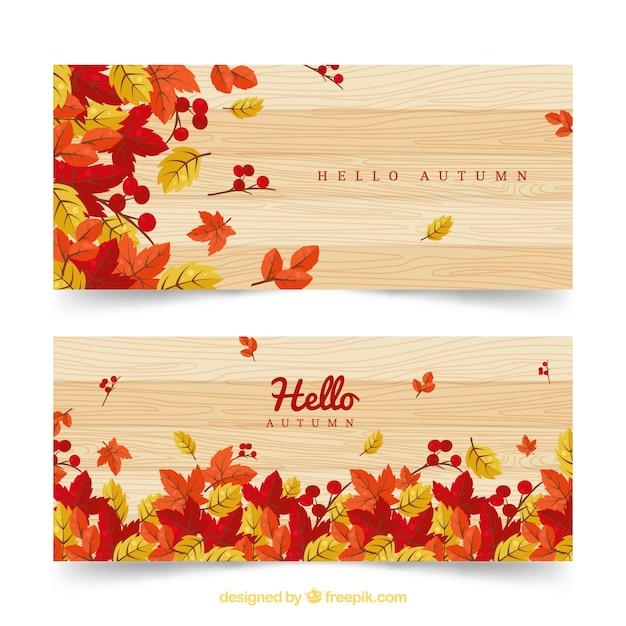Herbst Banner mit mehrfarbigen Blumen Kostenlose Vektoren