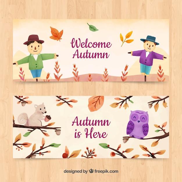 Herbst banner mit vogelscheuchen Kostenlosen Vektoren