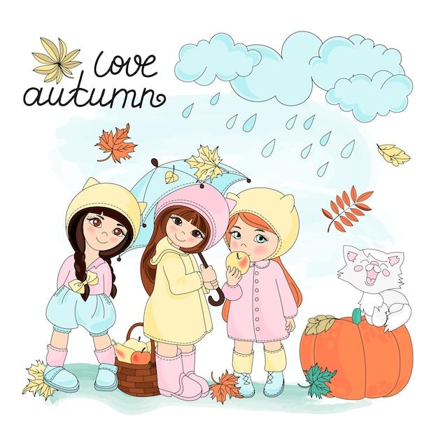 Herbst clipart vektor illustration set farbe Premium Vektoren