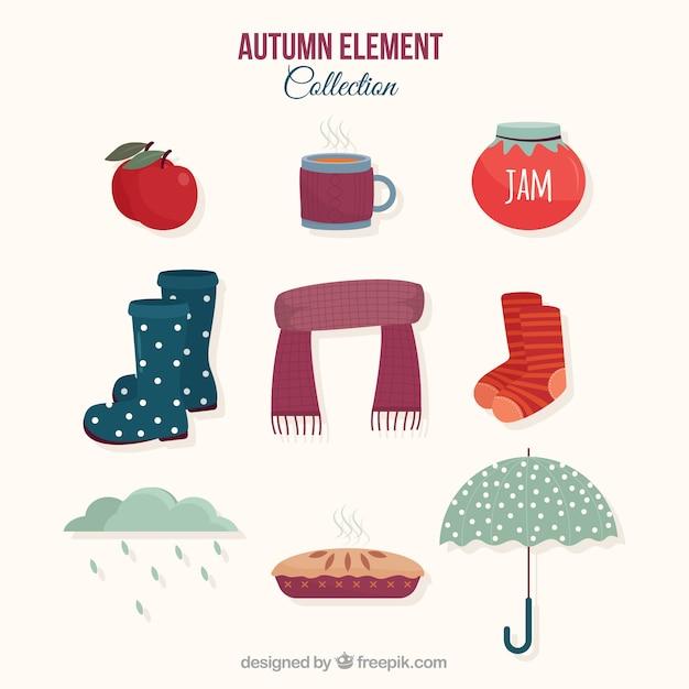 Herbst-element-kollektion mit modernem stil Kostenlosen Vektoren