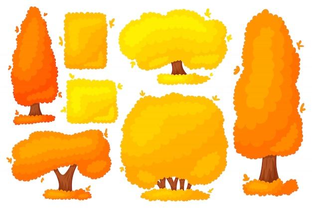 Herbst gelber orangenbaum busch. Premium Vektoren